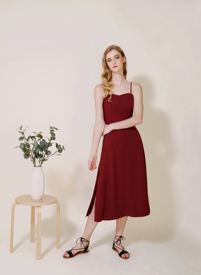 Embrace Button Sides Dress (Sangria) at $ 45.00 only sold at And Well Dressed Online Fashion Store Singapore