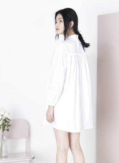 TRAIPSE Ruffled Shirt Dress (White) at $ 21.50 only sold at And Well Dressed Online Fashion Store Singapore