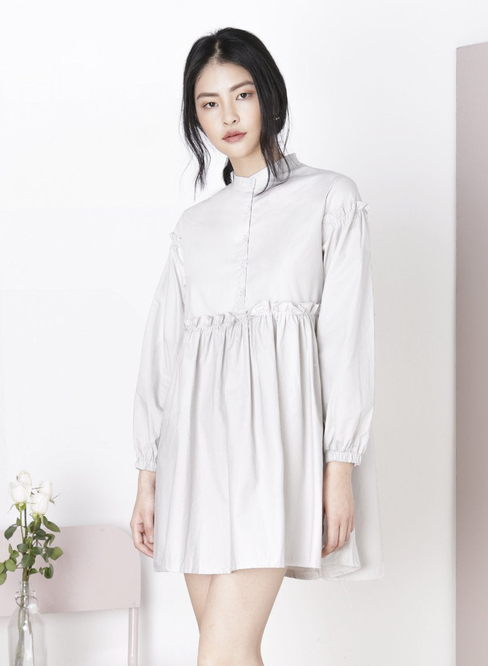 TRAIPSE Ruffled Shirt Dress (Grey) at $ 21.50 only sold at And Well Dressed Online Fashion Store Singapore