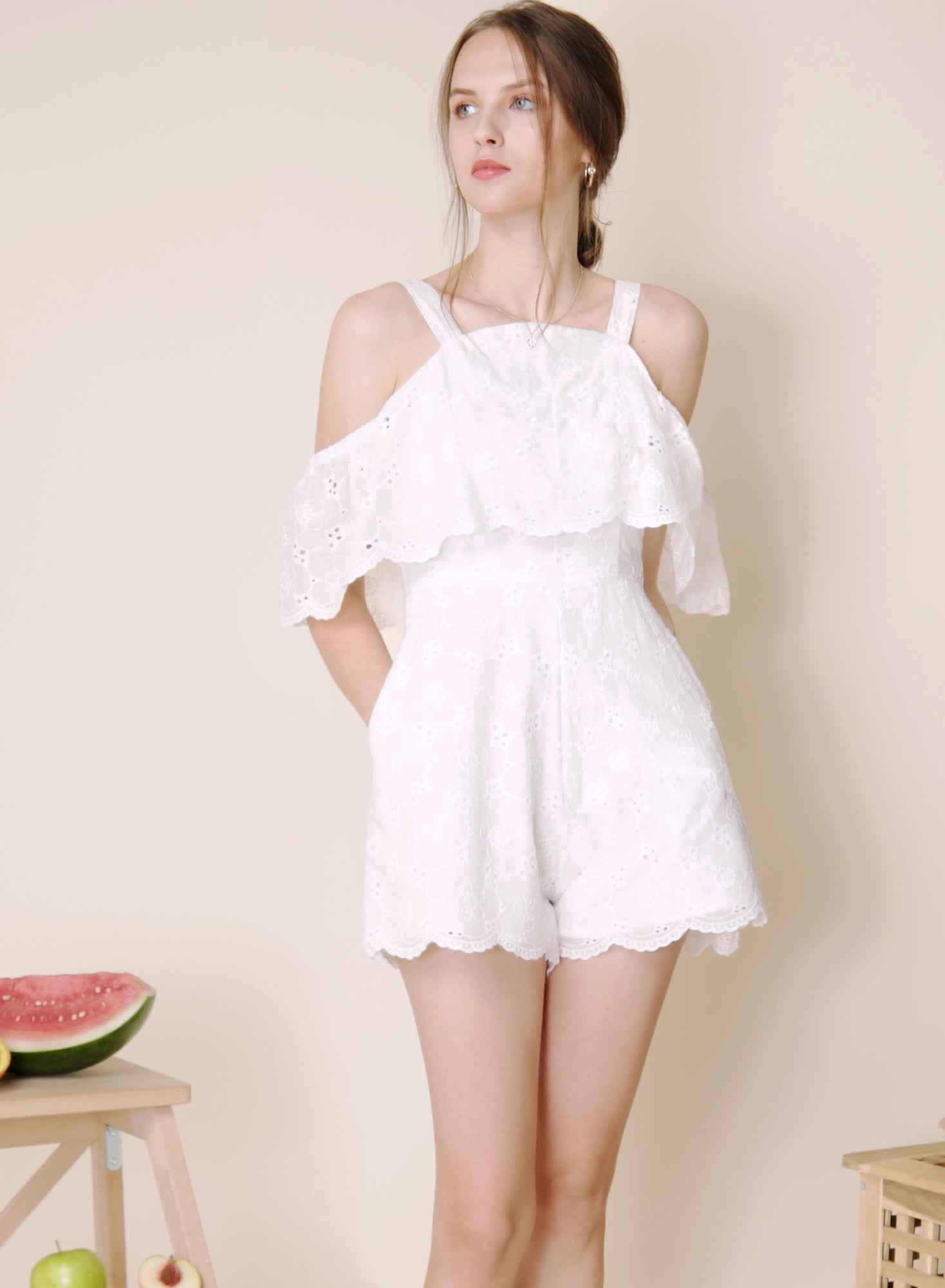 Imagine Cold Shoulder Eyelet Romper (White) at $ 41.50 only sold at And Well Dressed Online Fashion Store Singapore