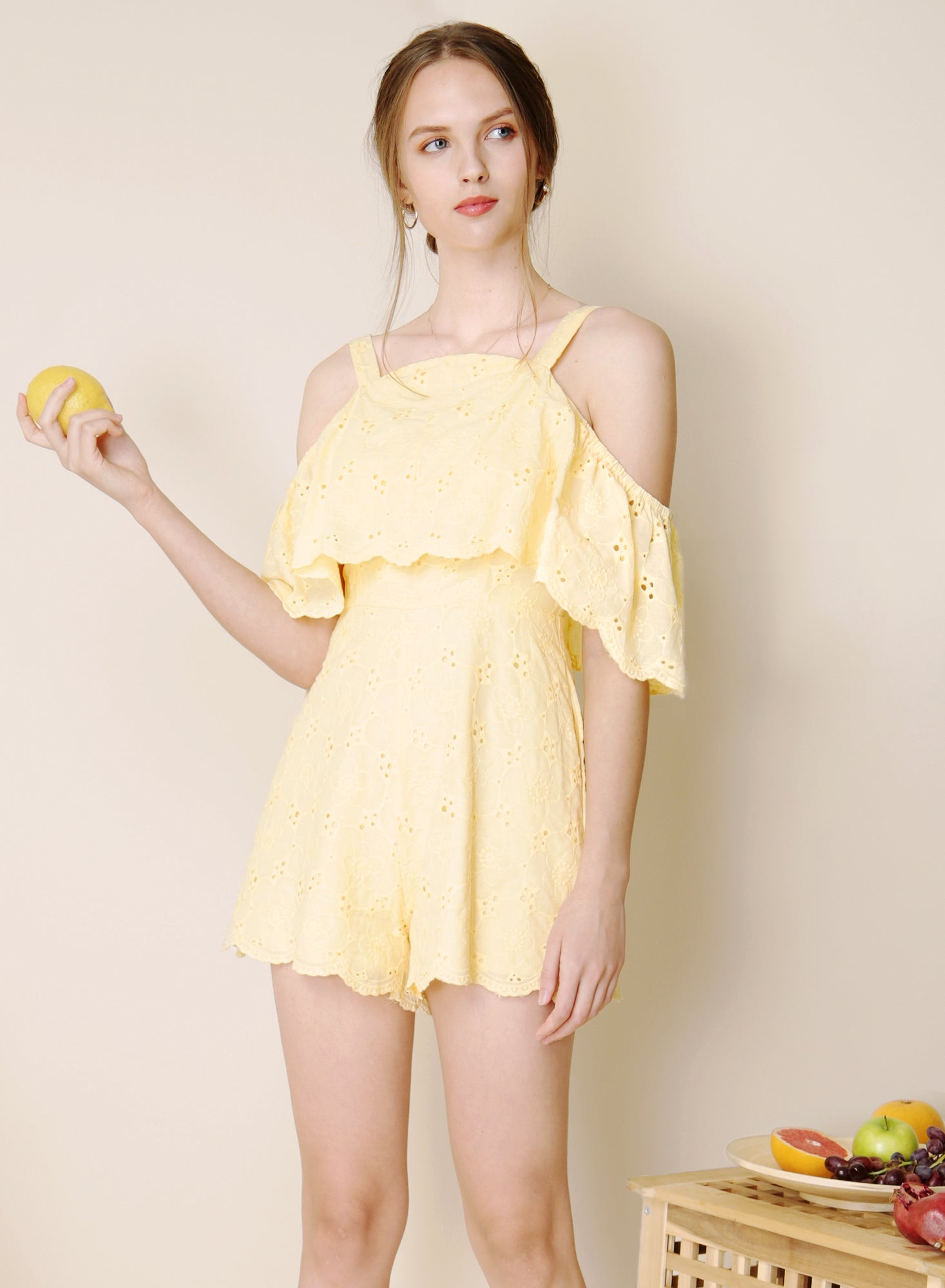 Imagine Cold Shoulder Eyelet Romper (Lemon) at $ 29.05 only sold at And Well Dressed Online Fashion Store Singapore