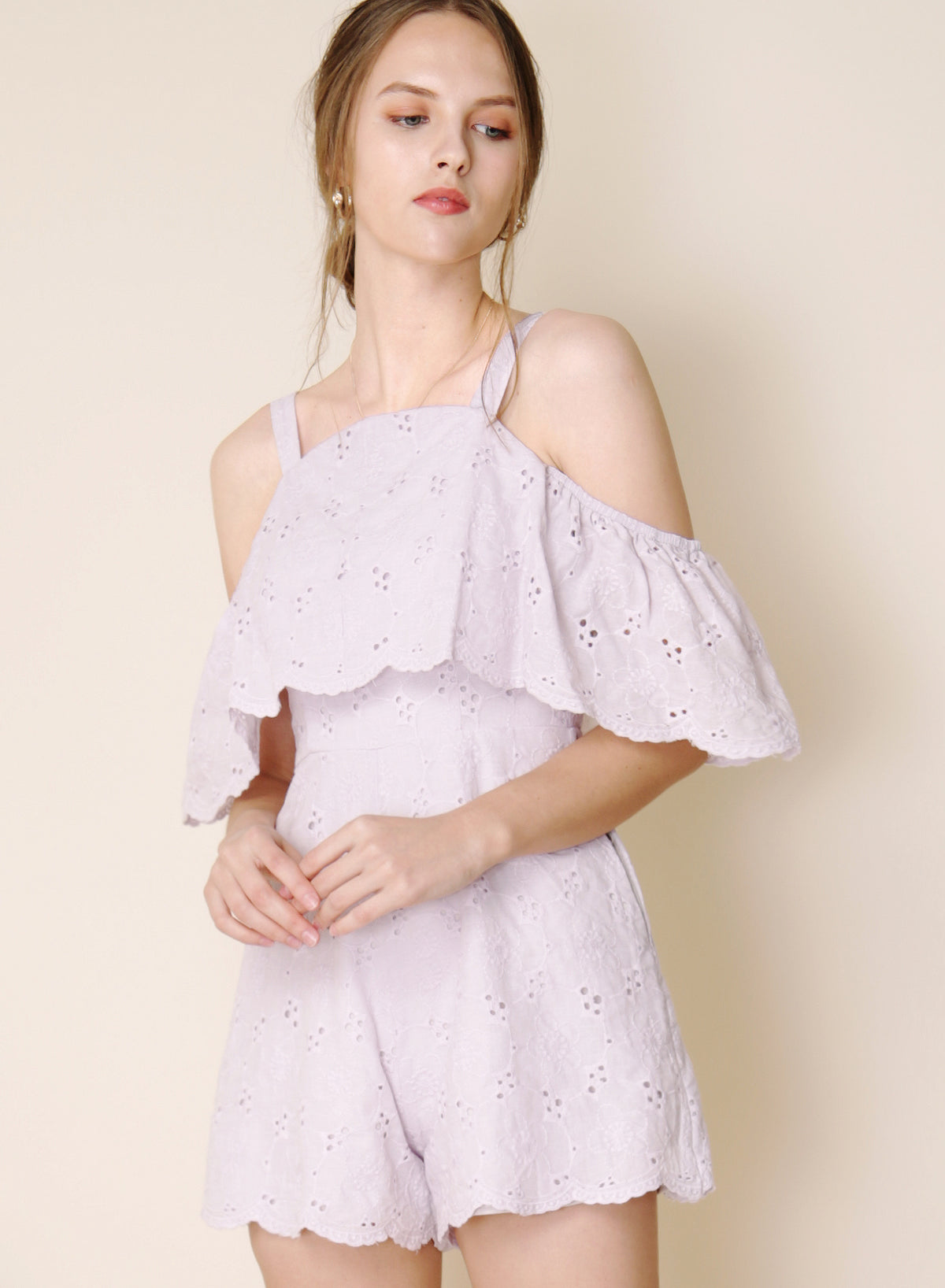 Imagine Cold Shoulder Eyelet Romper (Lilac) at $ 29.05 only sold at And Well Dressed Online Fashion Store Singapore