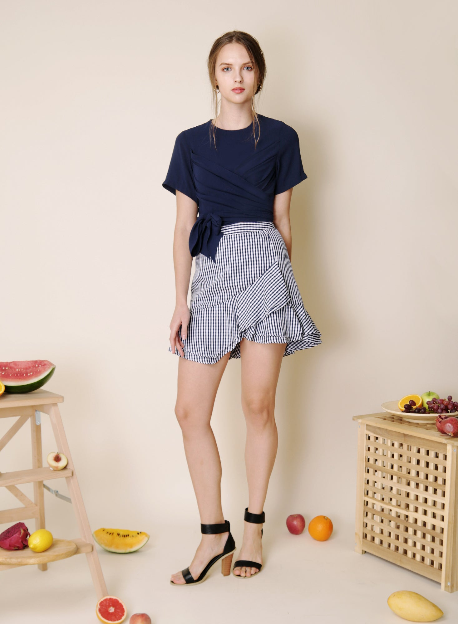 Memoir Wrap Front Top (Navy) at $34.50 only sold at And Well Dressed Online Fashion Store Singapore