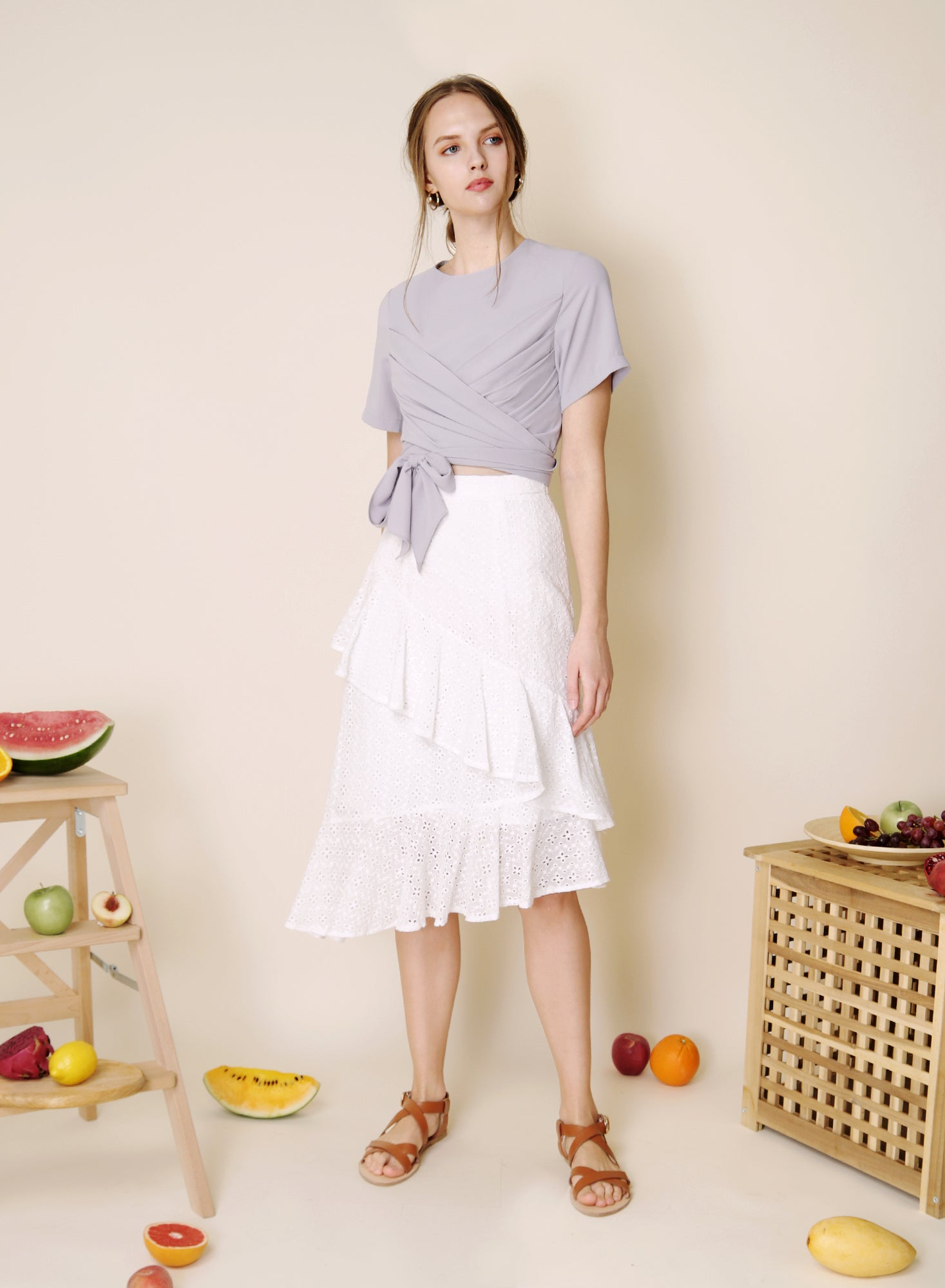 Memoir Wrap Front Top (Lilac Grey) at $34.50 only sold at And Well Dressed Online Fashion Store Singapore