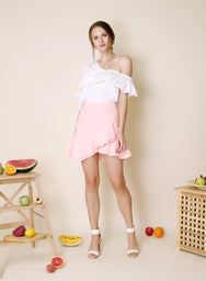 Sunrise Asymmetric Double Tier Skirt (Candyfloss) at $ 36.50 only sold at And Well Dressed Online Fashion Store Singapore