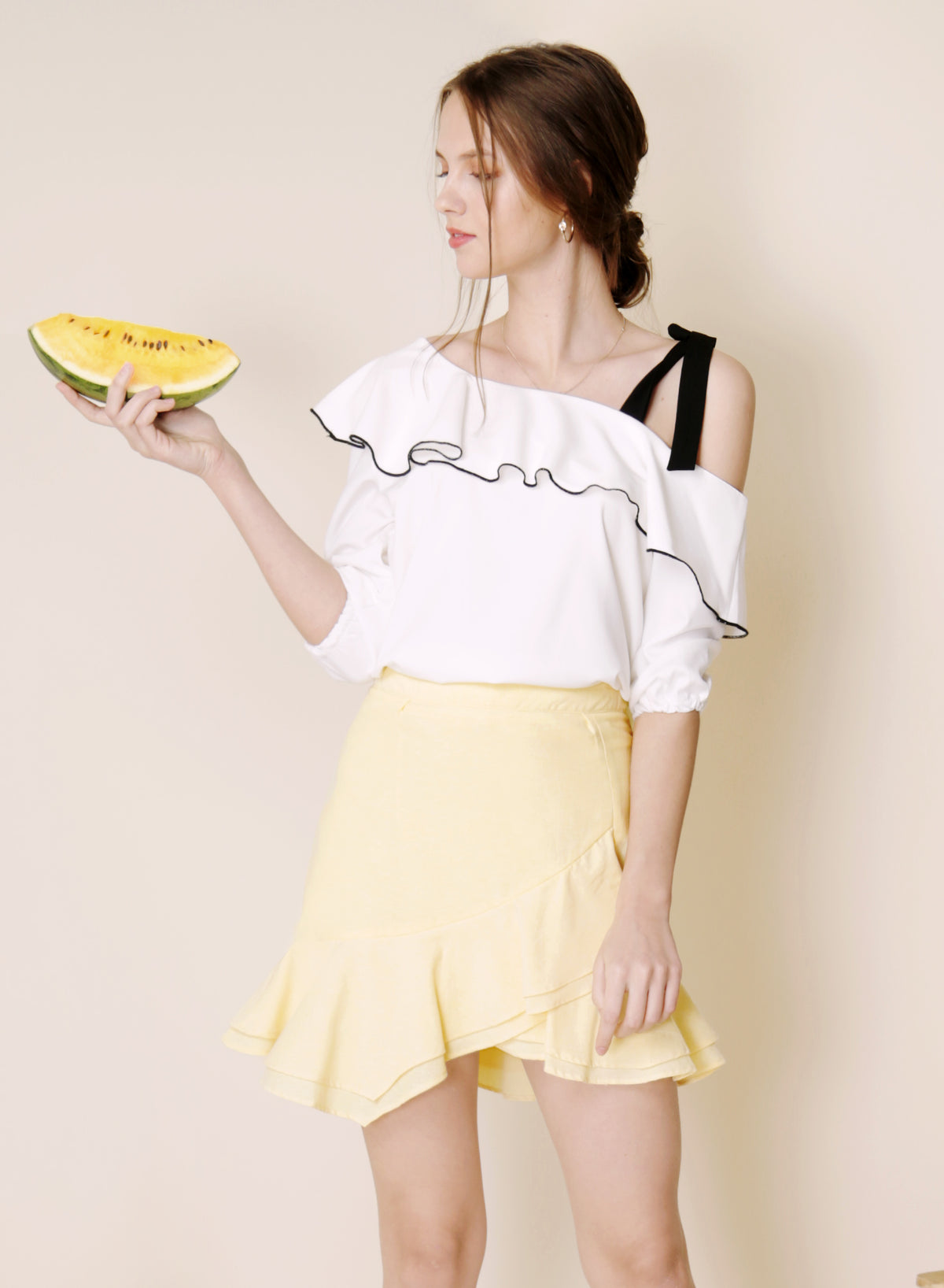 Sunrise Asymmetric Double Tier Skirt (Lemon) at $ 36.50 only sold at And Well Dressed Online Fashion Store Singapore