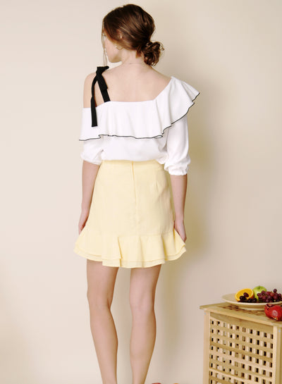 Sunrise Asymmetric Double Tier Skirt (Lemon) - And Well Dressed