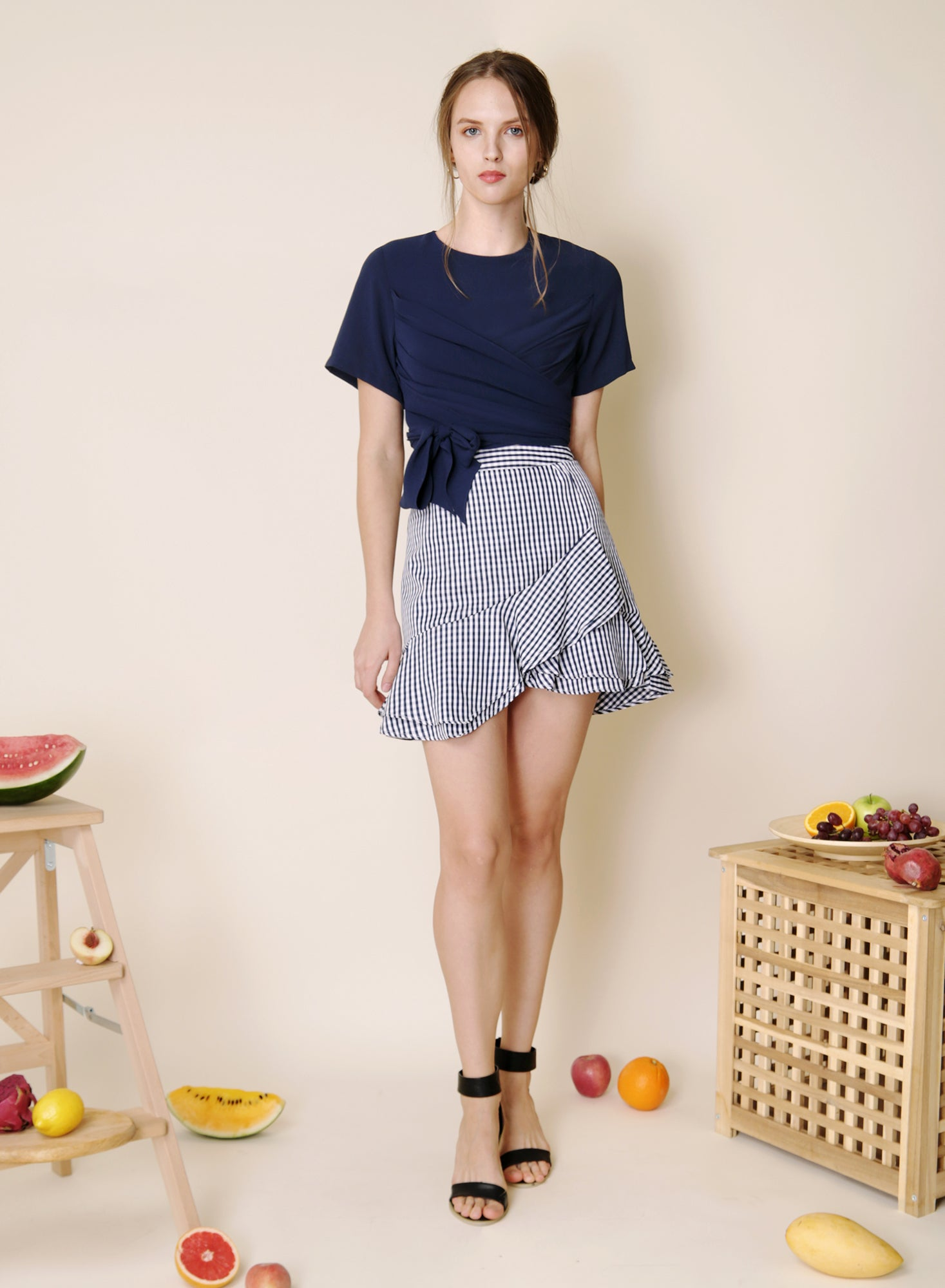 Sunrise Asymmetric Double Tier Skirt (Gingham) at $36.50 only sold at And Well Dressed Online Fashion Store Singapore