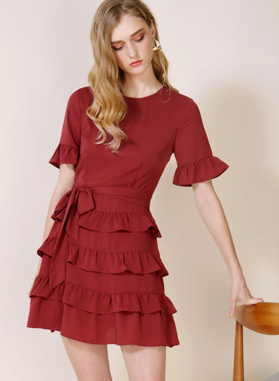 MIDNIGHT Ruffle Tiers Dress (Rust)