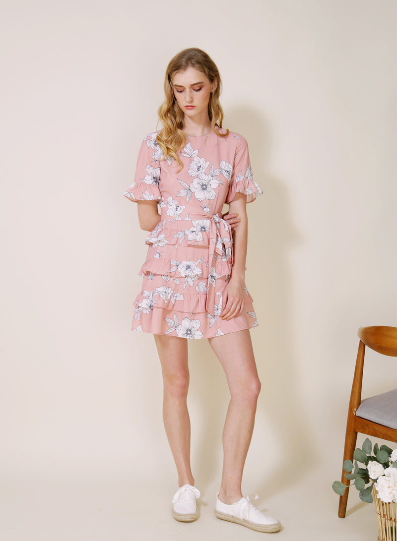 MIDNIGHT Ruffle Tiers Dress (Blush Floral) at $ 44.50 only sold at And Well Dressed Online Fashion Store Singapore