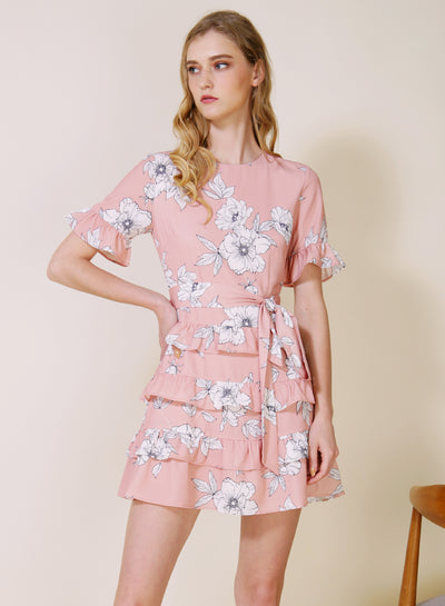 MIDNIGHT Ruffle Tiers Dress (Blush Floral)