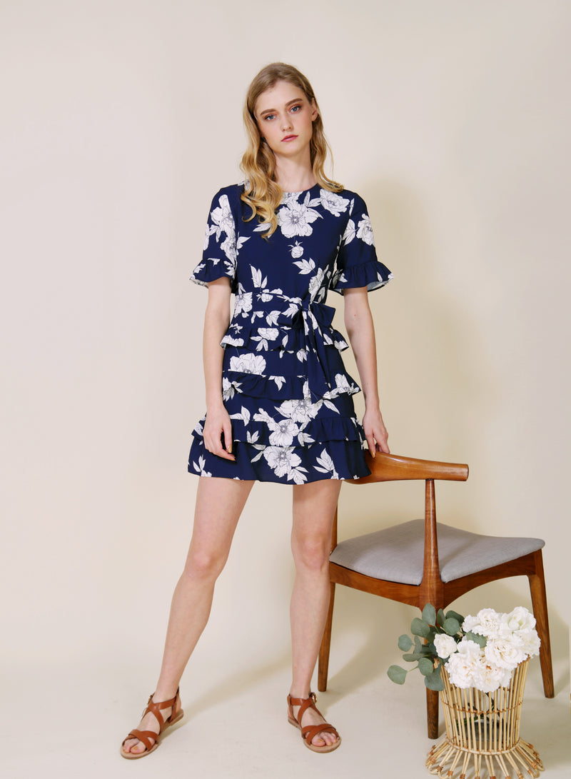 MIDNIGHT Ruffle Tiers Dress (Navy Floral)