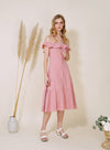 SUNSHINE Ruffle Off Shoulder Dress (Rose) at $ 46.00 only sold at And Well Dressed Online Fashion Store Singapore