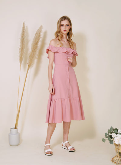 SUNSHINE Ruffle Off Shoulder Dress (Rose)