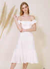 SUNSHINE Ruffle Off Shoulder Dress (White) at $ 46.00 only sold at And Well Dressed Online Fashion Store Singapore