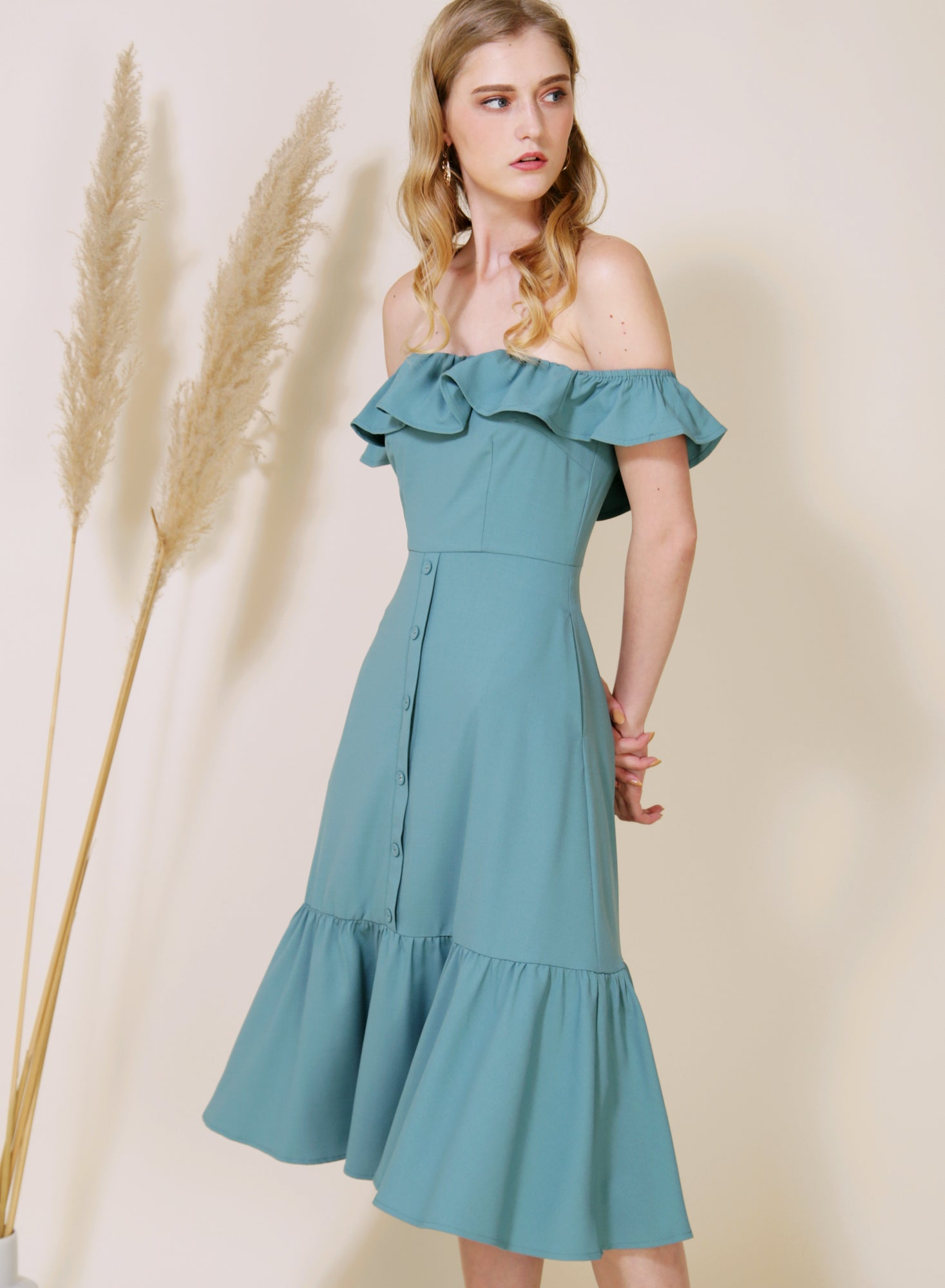 SUNSHINE Ruffle Off Shoulder Dress (Teal)