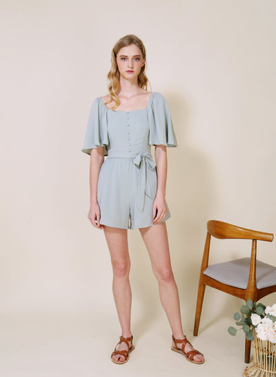 PARABLE Mid Sleeves Romper (Sage) at $ 42.50 only sold at And Well Dressed Online Fashion Store Singapore