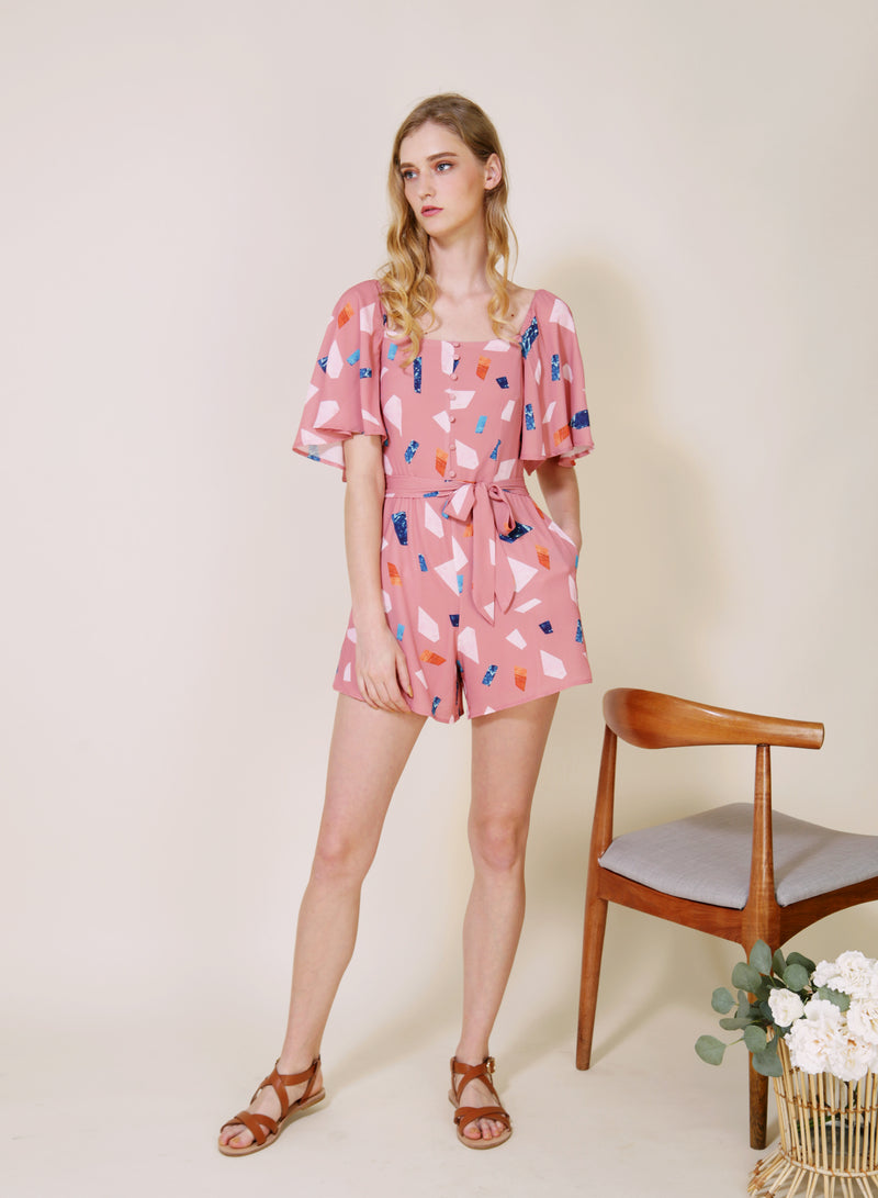 PARABLE Mid Sleeves Romper (Rose Terrazzo) at $ 42.50 only sold at And Well Dressed Online Fashion Store Singapore
