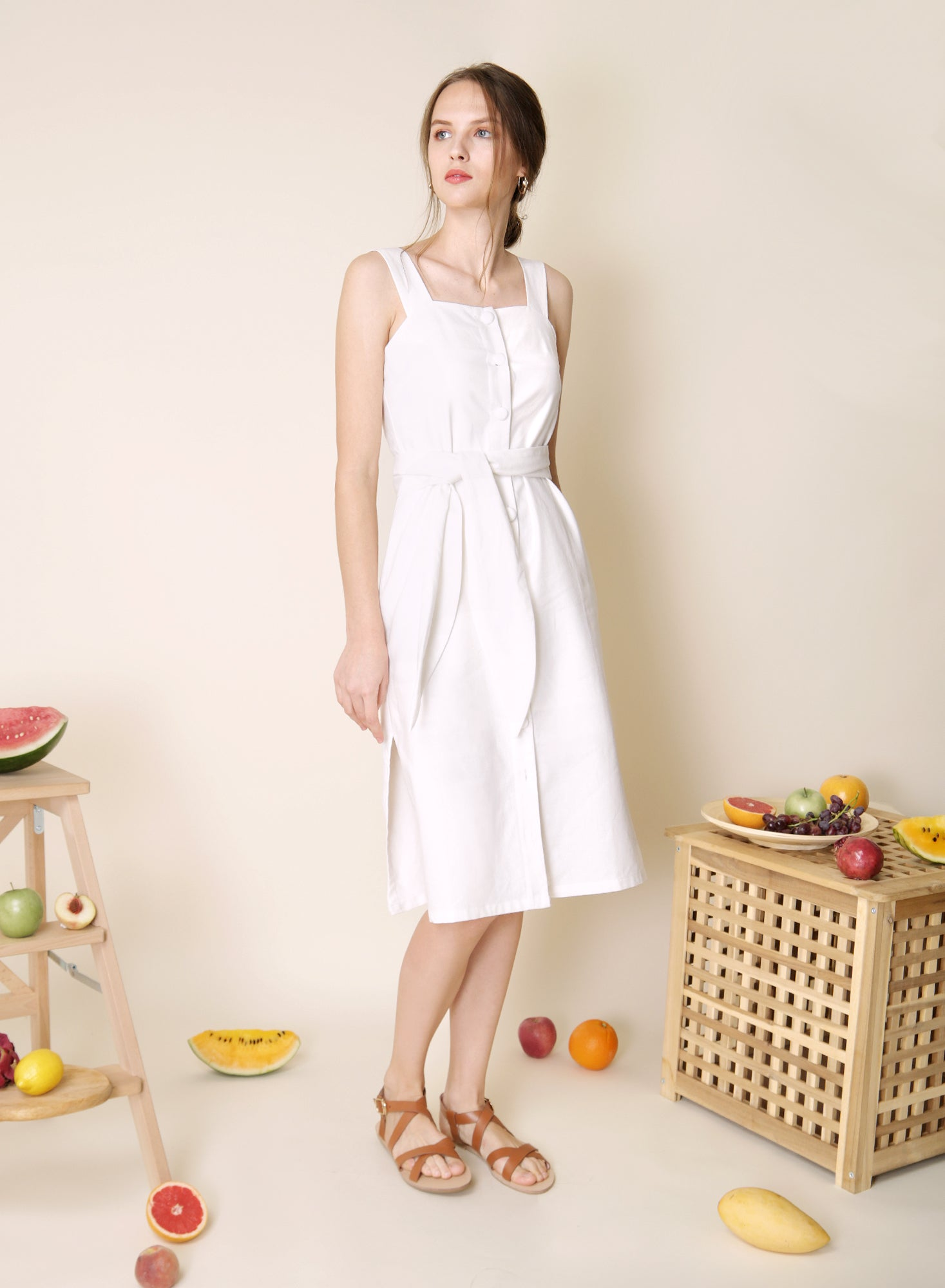 Elusive Button Down Linen Dress (White) at $43.50 only sold at And Well Dressed Online Fashion Store Singapore