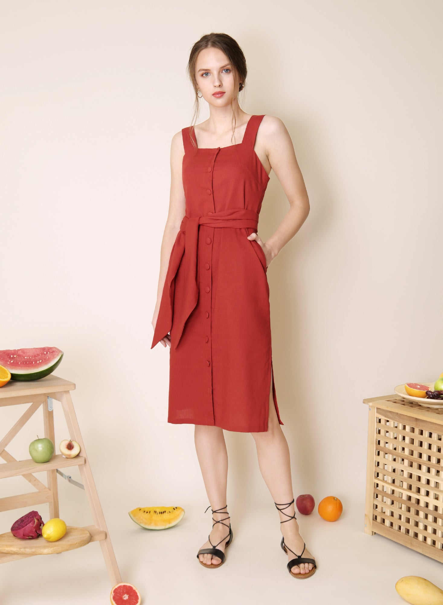 Elusive Button Down Linen Dress (Rust) at $43.50 only sold at And Well Dressed Online Fashion Store Singapore