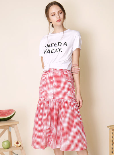 Prairie Button Down Skirt (Red Gingham) - And Well Dressed