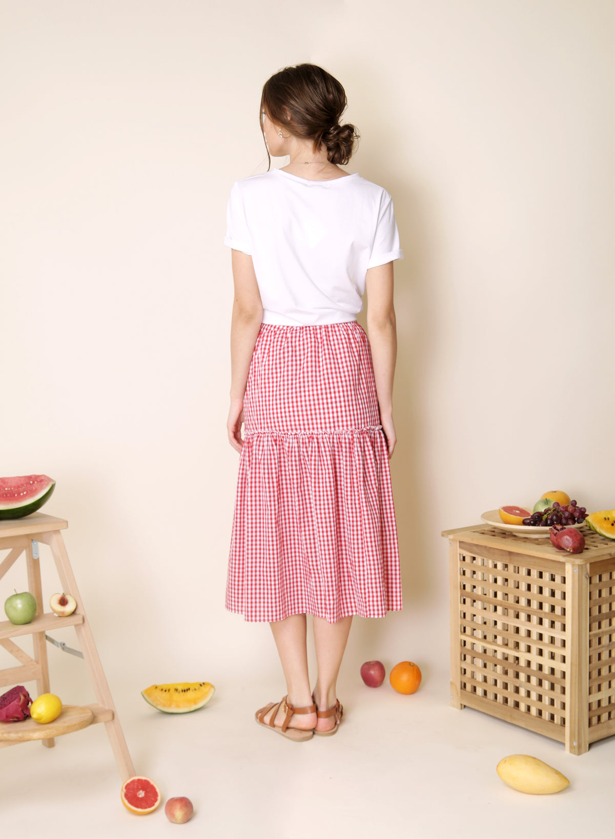 Prairie Button Down Skirt (Red Gingham) at $ 38.00 only sold at And Well Dressed Online Fashion Store Singapore