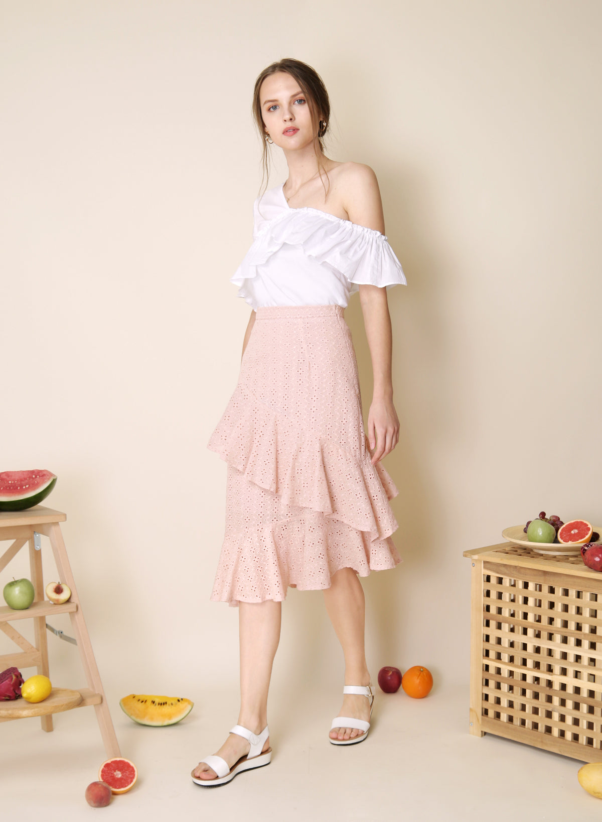 Jubilee Ruffled Eyelet Skirt (Blush) at $ 38.00 only sold at And Well Dressed Online Fashion Store Singapore