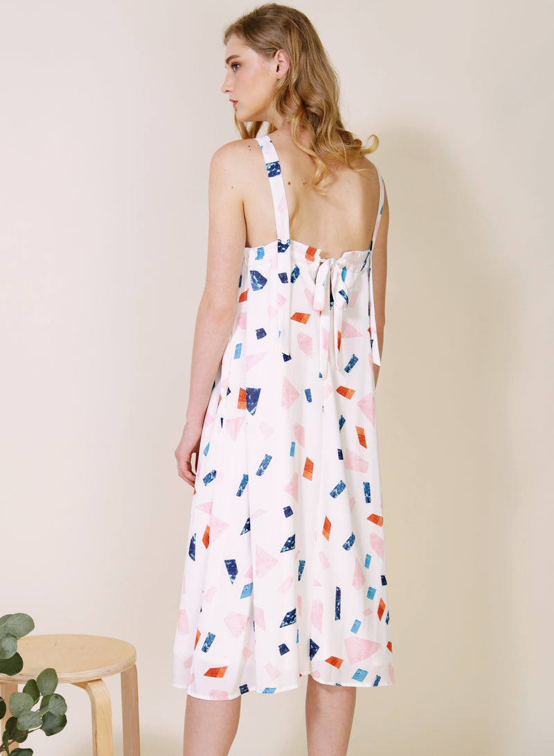 Tangled Terrazzo Print Dress (White) at $ 46.50 only sold at And Well Dressed Online Fashion Store Singapore