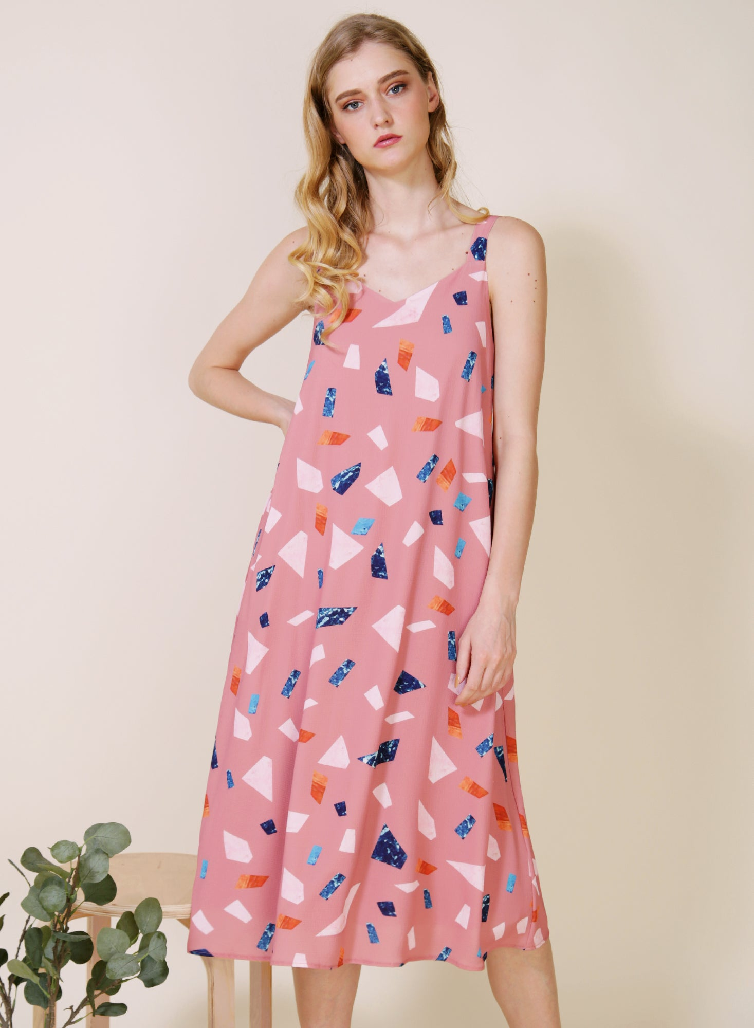 Tangled Terrazzo Print Dress (Rose)