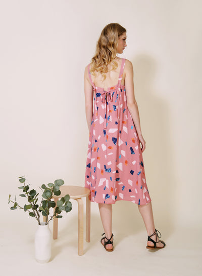 Tangled Terrazzo Print Dress (Rose) at $ 46.50 only sold at And Well Dressed Online Fashion Store Singapore
