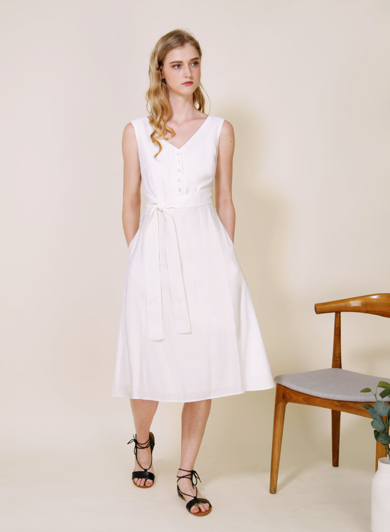 Duet Wrap Around Midi Dress (White)