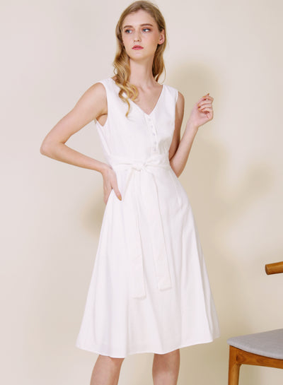 Duet Wrap Around Midi Dress (White) at $ 46.50 only sold at And Well Dressed Online Fashion Store Singapore