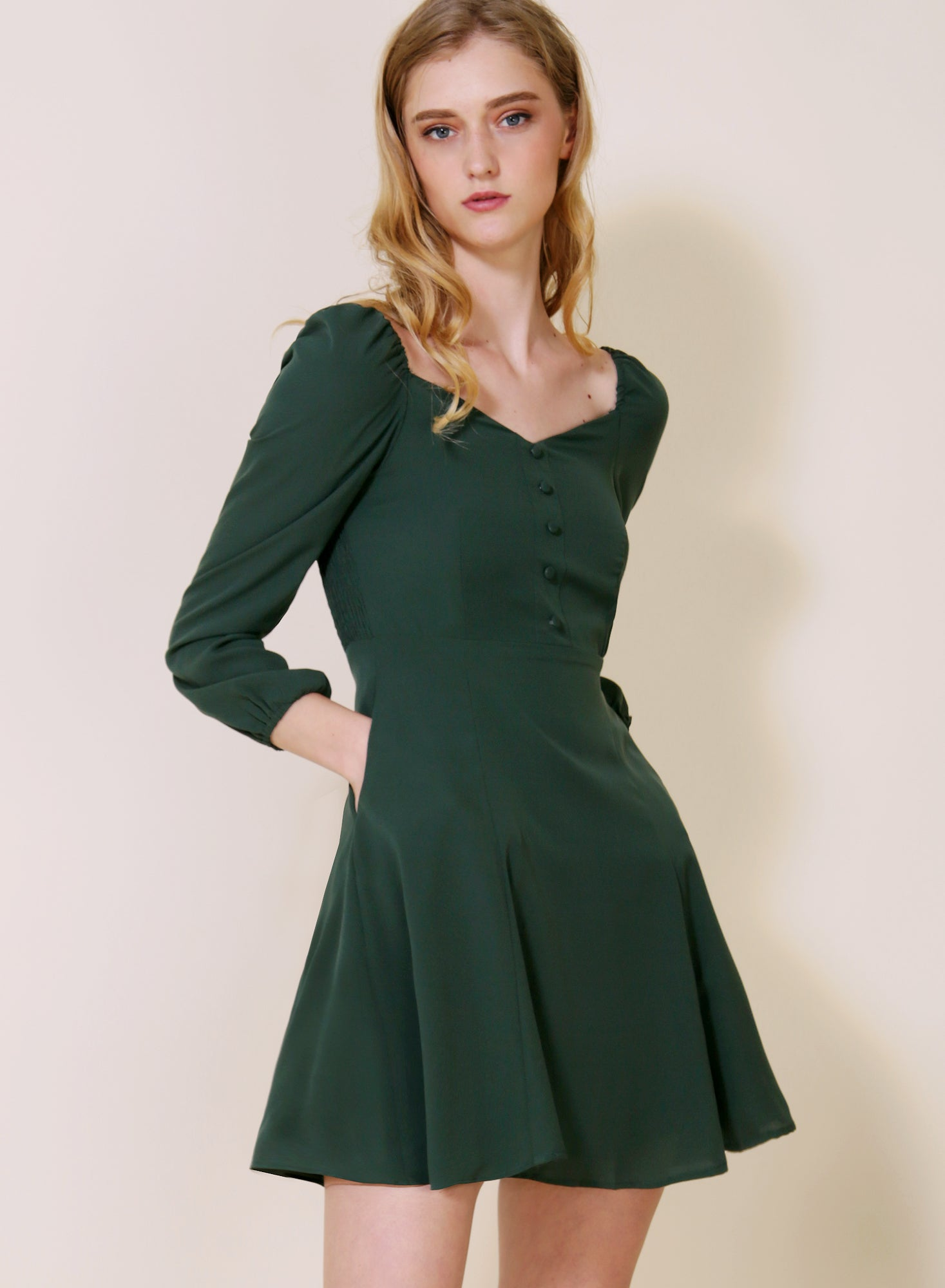 Moonchild Long Sleeved Flared Dress (Forest)
