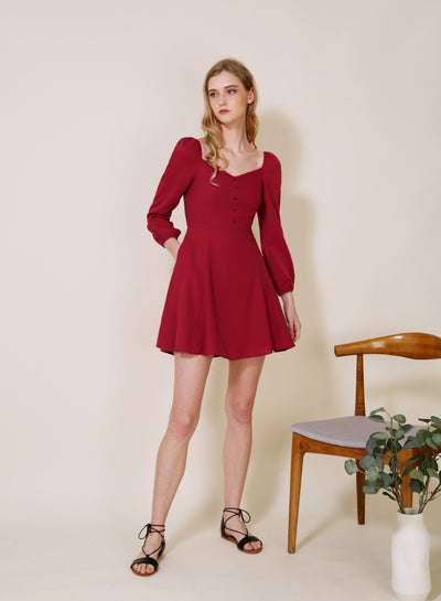 Moonchild Long Sleeved Flared Dress (Cherry)