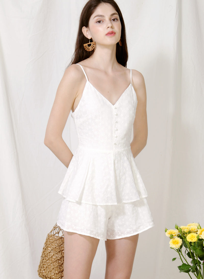 Serene Button Front Eyelet Romper (White) at $ 44.50 only sold at And Well Dressed Online Fashion Store Singapore