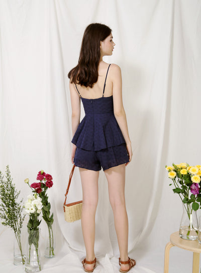 Serene Button Front Eyelet Romper (Navy) at $ 44.50 only sold at And Well Dressed Online Fashion Store Singapore