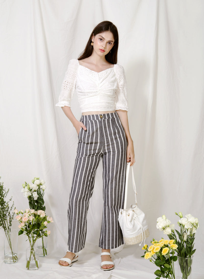 Euphony Puff Sleeves Ruched Top (Eyelet) at $ 38.00 only sold at And Well Dressed Online Fashion Store Singapore