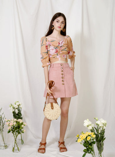 Euphony Puff Sleeves Ruched Top (Honey Floral) at $ 38.00 only sold at And Well Dressed Online Fashion Store Singapore