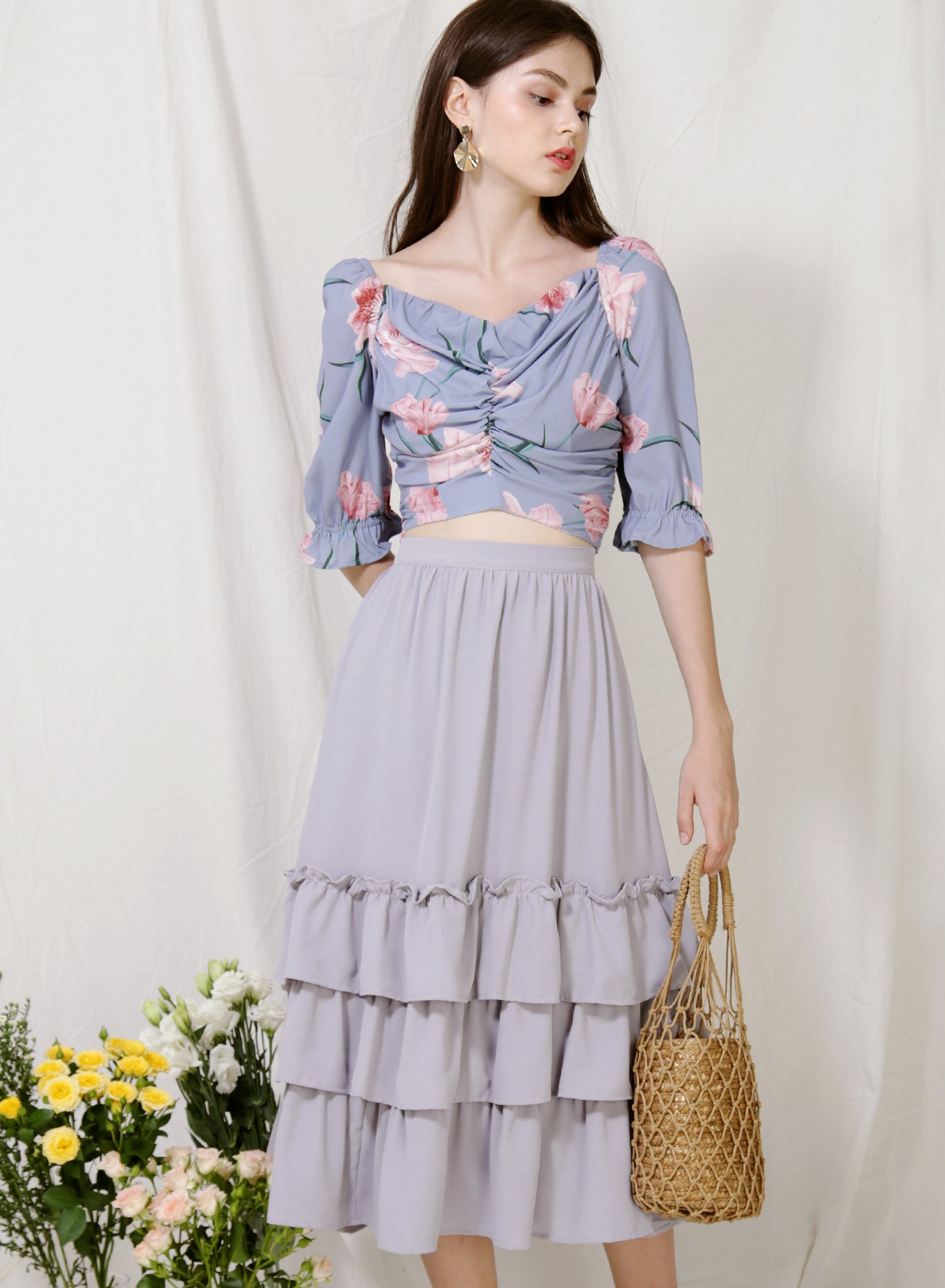 Euphony Puff Sleeves Ruched Top (Lilac Floral)