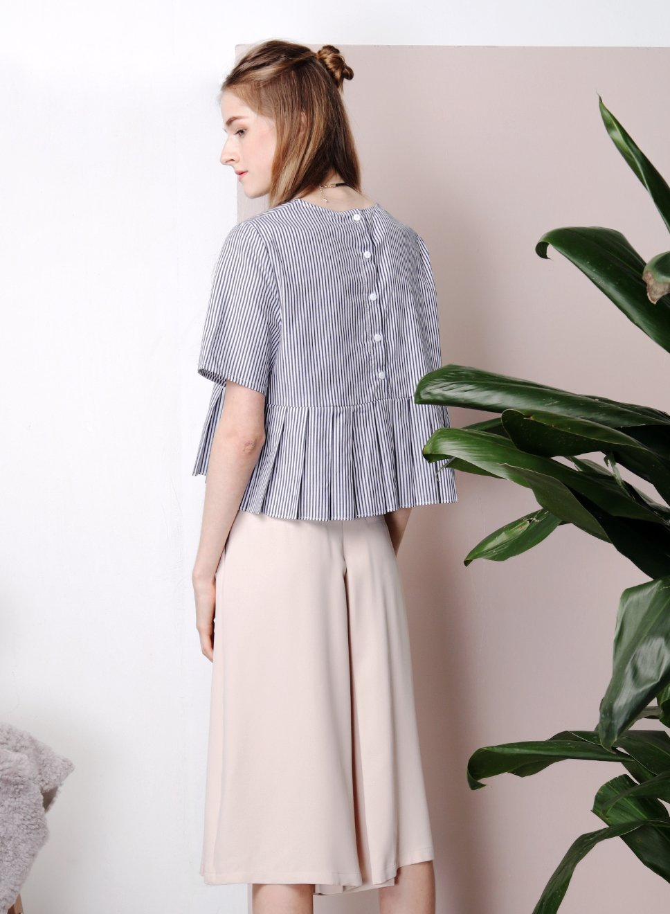 SYMPHONY Pleated Flare Culottes (Sand) at $ 21.50 only sold at And Well Dressed Online Fashion Store Singapore