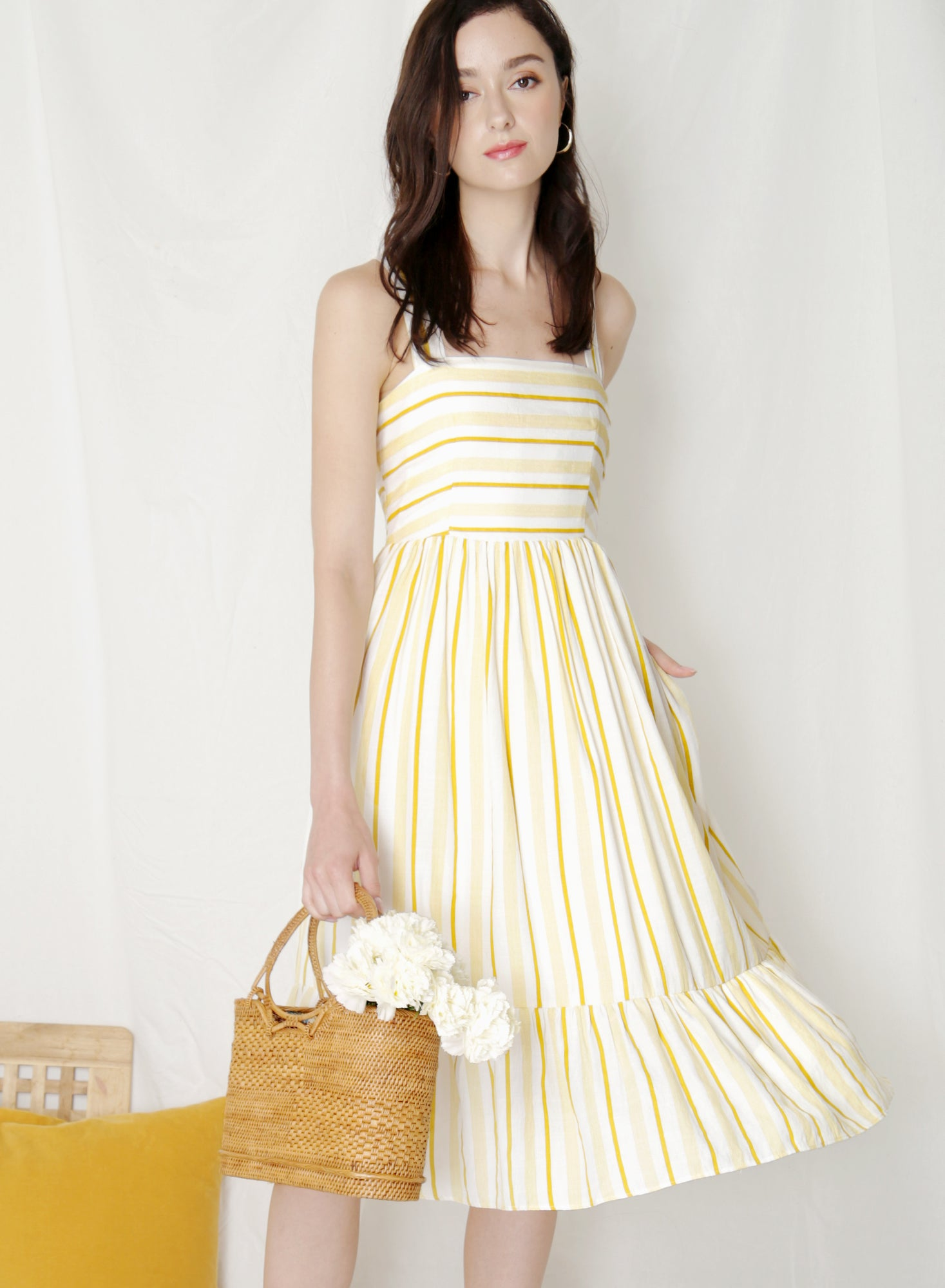 Fable Cross Back Midi Dress (Yellow Stripes) at $ 43.50 only sold at And Well Dressed Online Fashion Store Singapore