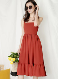 Fable Cross Back Midi Dress (Brick) at $ 43.50 only sold at And Well Dressed Online Fashion Store Singapore