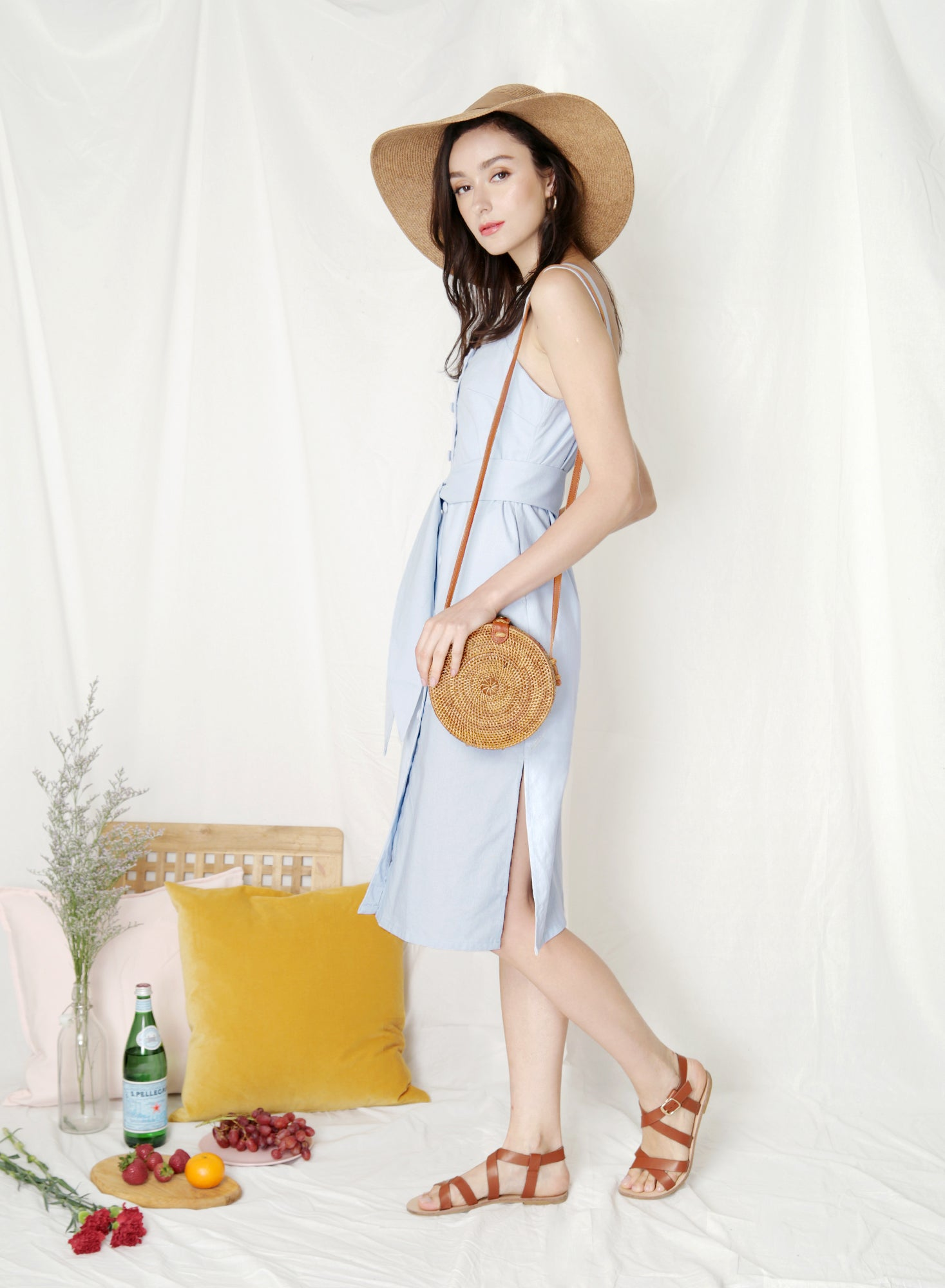Elusive Button Down Linen Dress (Sky) at $ 43.50 only sold at And Well Dressed Online Fashion Store Singapore