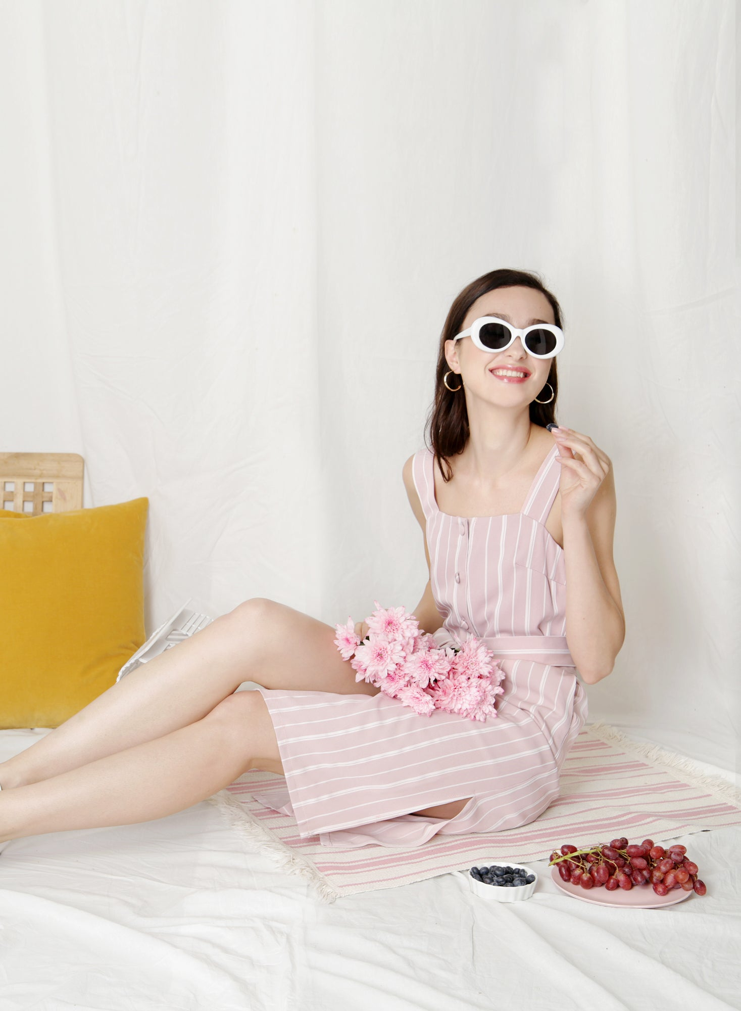 Backorder: Elusive Button Down Midi Dress (Pink Stripes) at $ 43.50 only sold at And Well Dressed Online Fashion Store Singapore
