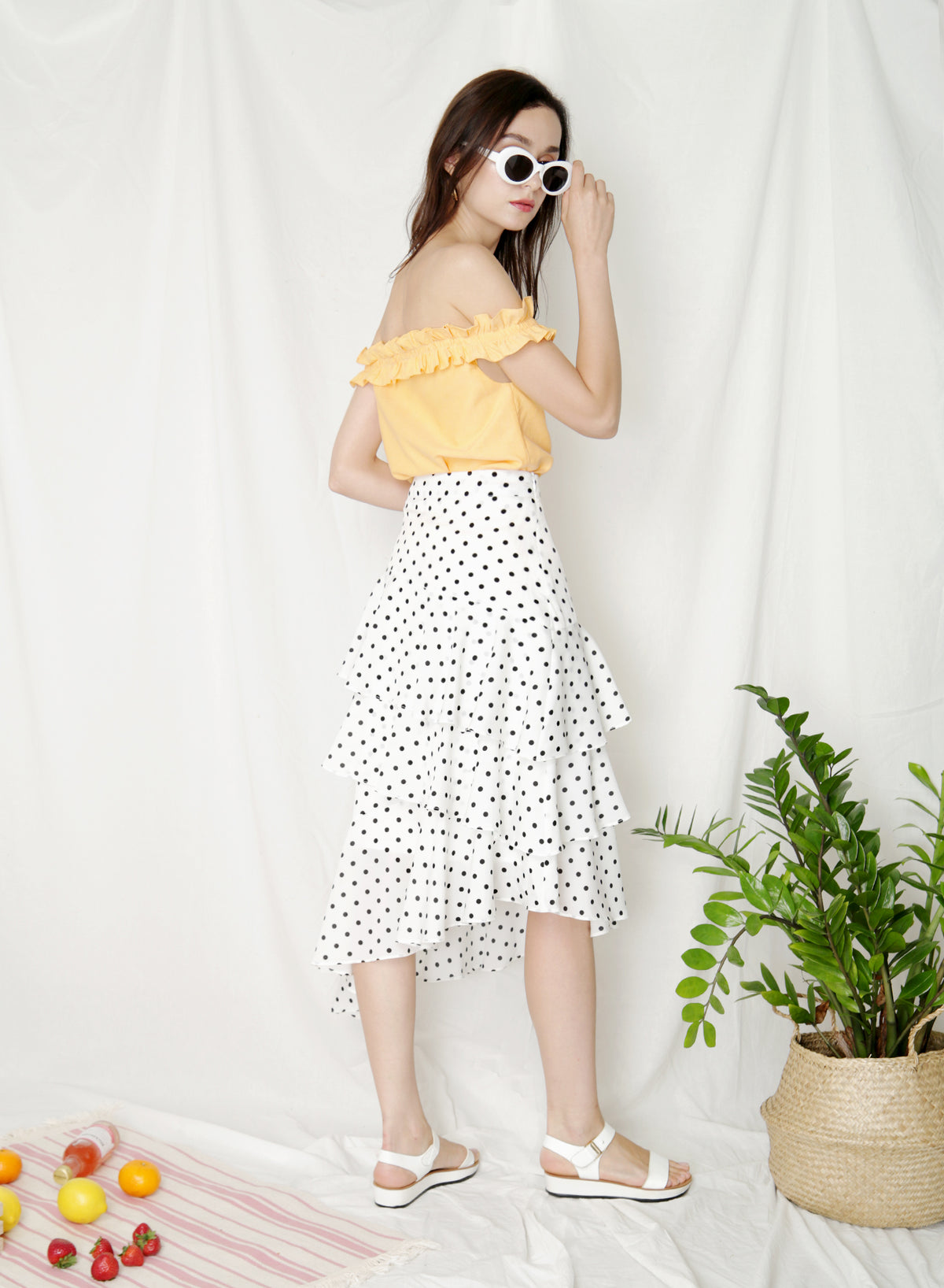 Pirouette Ruffle Tiers Skirt (White Polka) at $ 39.50 only sold at And Well Dressed Online Fashion Store Singapore