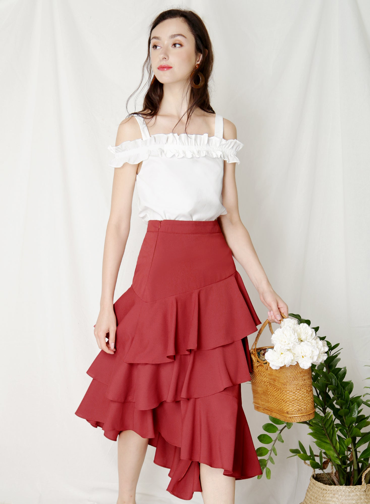 Pirouette Ruffle Tiers Skirt (Rust) at $ 39.50 only sold at And Well Dressed Online Fashion Store Singapore