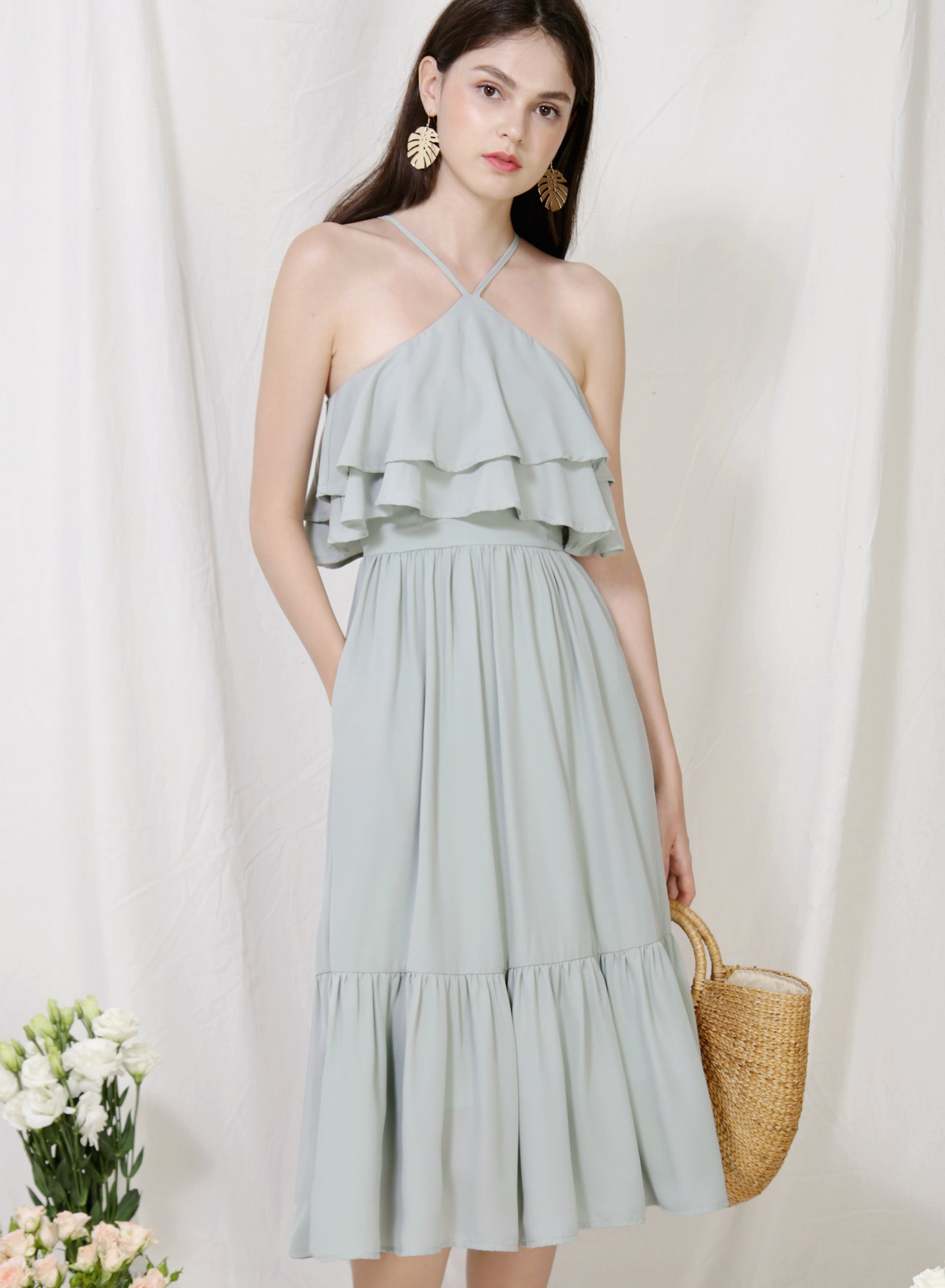 Wildflower Double Tiers Midi Dress (Sage)