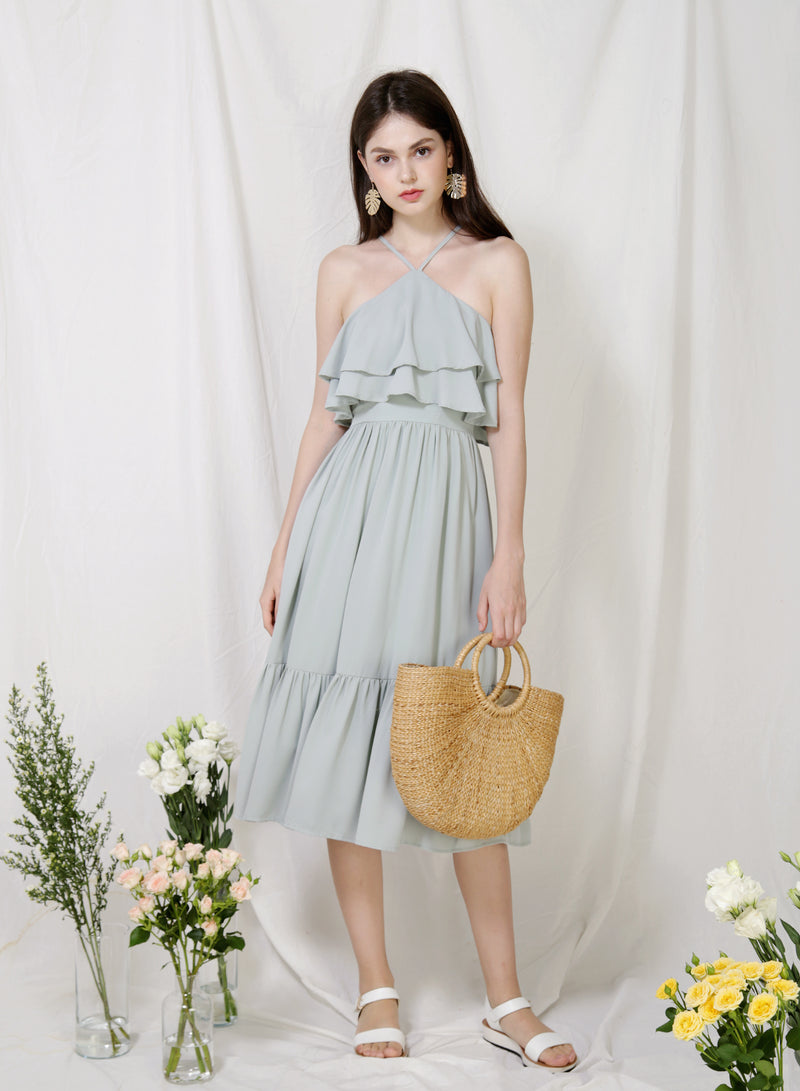 Wildflower Double Tiers Midi Dress (Sage) at $ 48.00 only sold at And Well Dressed Online Fashion Store Singapore