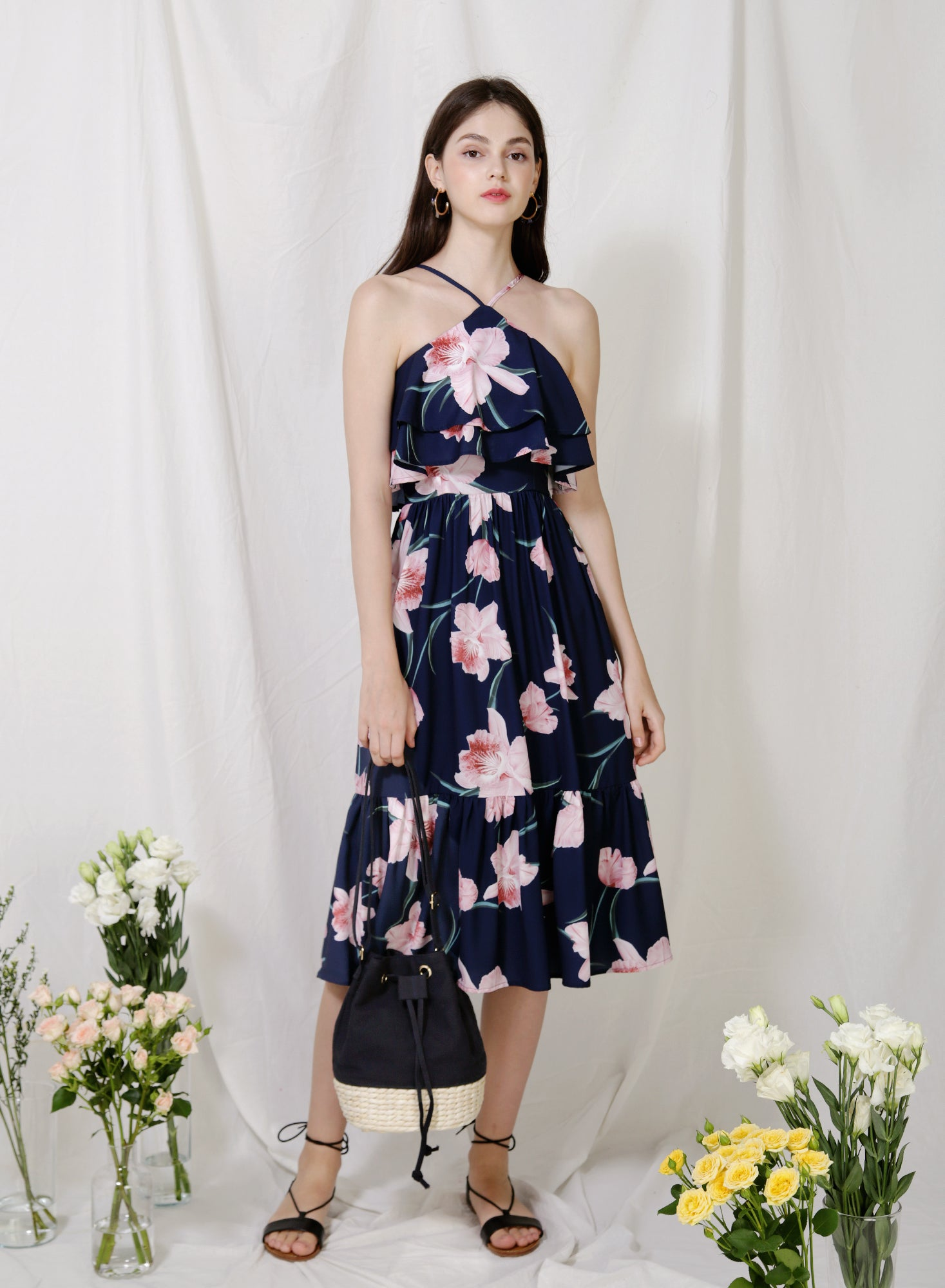 Wildflower Double Tiers Midi Dress (Floral)