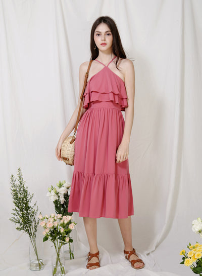 Wildflower Double Tiers Midi Dress (Rose)